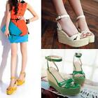 Women Elegent Bohemian Wedge Platform Strappy Cane Braid Sandals