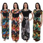 New Ladies Womens Long Full Length Floral Summer Maxi Evening Dress Size 8 to 12