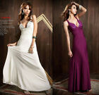 Low Cut Halter Sleeveless Beading Formal Gown Maxi Dresses #3271