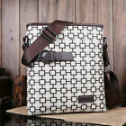 Fashion Men Leather Lattice Crossbody Shoulder Messenger Bag Briefcase (4 color)