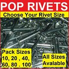 POP RIVETS   All Sizes / Lengths   Pack Sizes 10 to 100    Blind Dome Rivet
