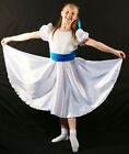 Edwardian-Sound of Music-Von Trapp WHITE SATIN DRESS BLUE SASH All Ages/Sizes