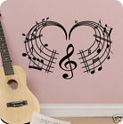 Music Heart Love Notes Musician Melody Wall Decal Sticker Quote SIZES COLORS Art