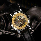 Luxury Automatic Hand-wind Skeleton Mechanical PU Leather Mens Wrist Sport Watch