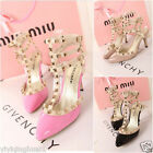 Fashion Sexy Women's Pointed Toe Studded Spike Pumps Stiletto High Heel Shoe