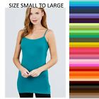 Womens Tank Top Cami Long Layering Active Basic Spaghetti Strap S,M,L Free Ship