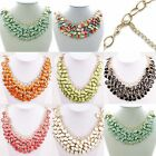 1pc Round rhinestone Bib Statement Charm Gold Plated Resin Gem Necklace 7 color