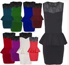 NEW WOMENS LADIES LACE PANEL TOP PEPLUM STYLE SLEEVELESS BODYCON PENCIL DRESS
