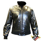 BNWT MENS BLACK GENUINE LEATHER CASUAL BIKERS BOMBER HARRINGTON COLLAR JACKET