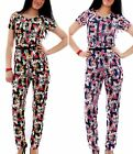 Womens Ladies Floral Print Gold Belted Back Zip Pocket Long Jumpsuit All In One