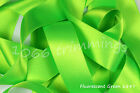 Fluorescent Green Satin Ribbon Double Sided Berisfords Choice Widths & Lengths