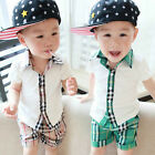 Summer Child Boys Baby Toddlers Kids Plaid Collar T-shirt+Pants Trousers Sets
