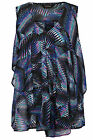 Yoursclothing Womens Plus Size Black And Tropical Print Ruffle Front Sleeveless