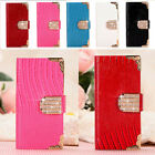 Bling Wallet Luxury PU Leather Magnetic Flip Cover Case For iPhone / Samsung