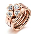 Rose Gold Plated stainless steel luxury Cubic Zirconia Heart Ring Women jewelry