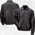 Mens Lined Solid Black Genuine Leather Bomber Style Casual Jacket Coat Zipper