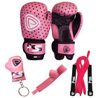 KIDS MACHINE MOULDED FOAM BOXING GLOVES FIGHT PUNCH REX LEATHER   MUAY THAI PINK