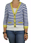AUGUST SILK Petite's Blue Combo Striped Cropped 3/4 Sl. Cardigan 0117031 $68 NEW
