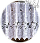 White Kitchen Cafe Net Curtain Width Sold By Metres Ready To Hang - Many Sizes