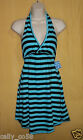 Free People Intimates women stripe turquoise black halter top dress coverup gown