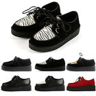 PLATFORM LACE UP WOMENS FLATS CREEPERS GOTH PUNK SHOES L229A Fashion SIZE UK2-9