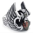Men's 316L Stainless Steel Titanium Angel Wing Heart Ruby Punk Ring M072759