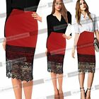 Women Vintage Colorblock Crochet Lace Evening Prom Bodycon Pencil Midi Skirt 829