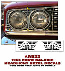A822 1963 FORD GALAXIE - HEADLIGHT BEZEL DECALS - DOES BOTH HEADLIGHTS