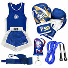 High Quality Kids Boxing Uniform Top & Short with Boxing Gloves Blue White 1007