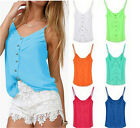 Hot Sell Womens New Sexy Casual Sleeveless Candy-colore Chiffon Halter Vest Tops