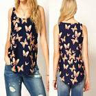 Fashion Sexy Women's Sleeveless T-Shirt Butterfly Print Chiffon Top Blouse Vest
