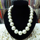 Rare Huge 8mm 10mm 12mm 14mm 20mm South Sea White Shell Pearl Necklace Aaa 18""