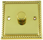 G&H Monarch Roped Polished Brass 1 2 3 & 4 Gang 250w LED Dimmer Light Switches