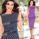 Womens Elegant Pinup Belted Polka Dot Party Wear To Work Bodycon Shift Dress 483