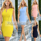 Womens Club Zip Tunic Fitted Party Cocktail Stretch Bodycon Shift Mini Dress 851