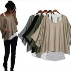 Women clothing New Hot Loose Batwing Tops Blouses Tank Casual Vest 2 in 1 Style