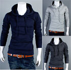 Men's Hooded Stylish Slim Pullover Cardigan Sweater Coat Solid Jackets Outwear