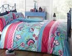 Rapport Contemporary Arianne Teal Bright Floral Stripe Reversible Duvet Cover