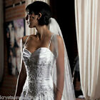 White or Ivory Single Layer Veil In Soft Tulle With Beaded Edging