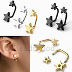 2pc 16G Stainless Steel Bar Barbell Screw Double Stars Ear Stud Earrings Earlets