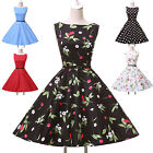 Vintage Cotton Flower Polka Dots Cocktail Evening Party Swing Pinup Mini Dress