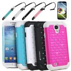 Hybrid Rugged Rubber Bling Crystal Case Cover for Samsung Galaxy S IV S4 i9500