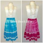 TIE DYED BOHO PEASANT SKIRT PINK - AQUA TIERED BEACH READY STUDIO WEST PS-PXL