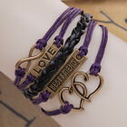 fashion purple color multilayer leather weaves charm jewelry infinity bracelet
