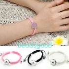 1x Punk Braided Cord Rope Bracelet Bangle Fit Snap On Button Charm Jewelry Gift