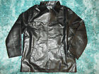 Mens Black long sleeve waist length jacket Black PU Leather jacket coat L-2X NWT