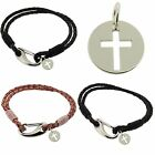 925 Sterling Silver CROSS Crucifix Pendant Charm Gift & Leather Bracelet various