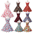 SUMMER Vintage Retro 50s 60s Floral Cotton Swing Pinup EVENING Prom Party Dress