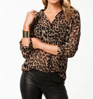 Women Sexy Long Sleeve Leopard Chiffon Summer Casual T-Shirts Blouse Tops M XXL