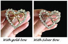 GORGEOUS BROOCH/PIN/CRYSTAL/RHINESTONES WHITE/CLEARHEARTS /SP/GP BO